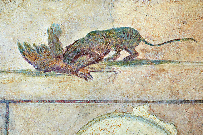 Roman Fresco of a cat killing a bird from  The Large Columbarium in Villa Doria Panphilj, Rome. A columbarium is usually a type of tomb with walls lined by niches that hold urns containing the ashes of the dead.  Large columbaria were built in Rome between the end of the Republican Era and the Flavio Principality (second half of the first century AD).  Museo Nazionale Romano ( National Roman Museum), Rome, Italy.