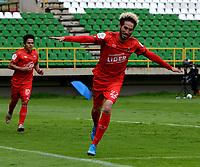 TUNJA - COLOMBIA, 14-11-2020: Carlos Ramirez de Patriotas Boyaca F. C.,  celebra el gol anotado a Jaguares de Cordoba F. C., durante partido de la fecha 20 entre Patriotas Boyaca F. C., y Jaguares de Cordoba F. C., por la Liga BetPlay DIMAYOR 2020, jugado en el estadio La Independencia de la ciudad de Tunja. / Carlos Ramirez of Patriotas Boyaca F. C., celebrates the scored goal to Jaguares de Cordoba F. C., during a match of the 20th date between Patriotas Boyaca F. C., and Jaguares de Cordoba F. C., for the BetPlay DIMAYOR League 2020 played at the La Independencia stadium in Tunja city. / Photo: VizzorImage / Macgiver Baron / Cont.