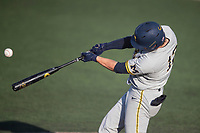 Michigan Wolverines second baseman Riley Bertram (12) swings the bat during the NCAA baseball tournament against the Connecticut Huskies on June 4, 2021 at Frank Eck Stadium in Notre Dame, Indiana. The Huskies defeated the Wolverines 6-1. (Andrew Woolley/Four Seam Images)