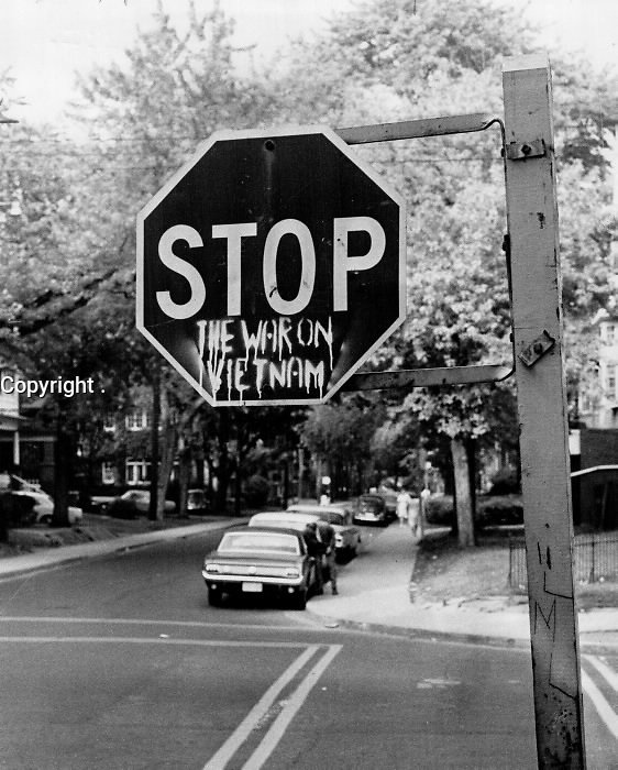 STOP THE WAR IN VIETNAM<br /> Sign at Bernard Ave. and Huron St.; These days protesters seem to be everywhere