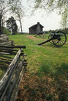 AJ4142, Civil War, Chickamauga and Chattanooga National Military Park, Chickamauga, Georgia, Cannons displayed at The Brotherton Cabin in Chickamauga and Chattanooga Nat'l Military Park in the state of Georgia.