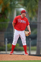 GCL Phillies East relief pitcher Mark Potter (29) looks in for the sign during a game against the GCL Blue Jays on August 10, 2018 at Carpenter Complex in Clearwater, Florida.  GCL Blue Jays defeated GCL Phillies East 8-3.  (Mike Janes/Four Seam Images)