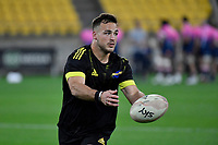 Wes Goosen of the Hurricanes warms up before the Super Rugby - Hurricanes v Rebels at Sky Stadium, Wellington, New Zealand on Friday 21 May 2021.<br /> Photo by Masanori Udagawa. <br /> www.photowellington.photoshelter.com