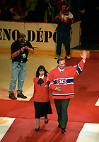 Montreal (Qc) CANADA -March 11 1996 File Photo-<br /> Guy Lafler (10) at<br /> The last hockey game ever played at the Montreal Forum.