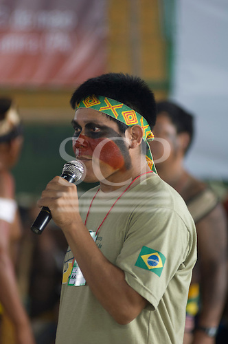 Altamira, Brazil. Encontro Xingu protest meeting about the proposed Belo Monte hydroeletric dam and other dams on the Xingu river and its tributaries. Pablo Kamaiura.