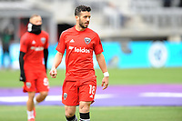 WASHINTON, DC - FEBRUARY 29: Washington, D.C. - February 29, 2020: Felipe Martins #18 of D.C. United during pre-game warmups. The Colorado Rapids defeated D.C. United 2-1 during their Major League Soccer (MLS)  match at Audi Field during a game between Colorado Rapids and D.C. United at Audi FIeld on February 29, 2020 in Washinton, DC.