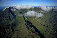 Waialeale crater aerial, wettest spot on earth, Kauai