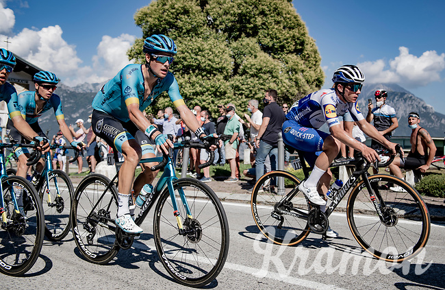 Remco Evenepoel (BEL/Deceuninck-Quickstep) & Jakob Fuglsang (DEN/Astana) side by side up the Madonna del Ghisallo (754m)<br /> <br /> 114th Il Lombardia 2020 (1.UWT)<br /> 1 day race from Bergamo to Como (ITA/231km) <br /> <br /> ©kramon