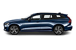 Car Driver side profile view of a 2021 Volvo V60 R-Design 5 Door Wagon Side View