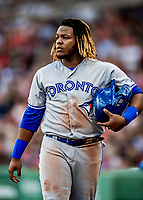 22 June 2019: Toronto Blue Jays third baseman Vladimir Guerrero Jr. returns to the dugout in the 7th inning against the Boston Red Sox at Fenway :Park in Boston, MA. The Blue Jays rallied to defeat the Red Sox 8-7 in the 2nd game of their 3-game series. Mandatory Credit: Ed Wolfstein Photo *** RAW (NEF) Image File Available ***