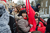 3 Cosas Campaign open-top bus tour by outsourced cleaning, security and maintenance workers employed by Cofely GDF-Suez at London University, on strike over union recognition, job losses and conditions of employment.  The mostly Latin-American employees are members of the IWGB union and have already won a pay increase to the London Living Wage.