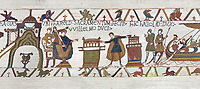Bayeux Tapestry Scene  23 - At  Bayeux Harold,  holding two relics, swears fealty to Duke William
