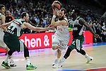 Real Madrid´s Sergio Rodriguez and Zalgiris Kaunas´s Will Cherry and Arturas Milaknis during 2014-15 Euroleague Basketball match between Real Madrid and Zalgiris Kaunas at Palacio de los Deportes stadium in Madrid, Spain. April 10, 2015. (ALTERPHOTOS/Luis Fernandez)