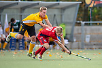 Mannheim, Germany, October 25: During the 1. Bundesliga men fieldhockey match between Mannheimer HC (red) and Harvestehuder THC (yellow) on October 25, 2020 at Am Neckarkanal in Mannheim, Germany. Final score 6-4 (HT 2-3). (Copyright Dirk Markgraf / www.265-images.com) *** Michael Koerper #9 of Harvestehuder THC, Linus Mueller #10 of Mannheimer HC
