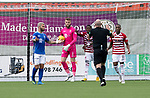 Hamilton Accies v St Johnstone…01.09.18…   New Douglas Park     SPFL<br />Rakish Bingham tries to get the ball from Zander Clark after scoring for Accies<br />Picture by Graeme Hart. <br />Copyright Perthshire Picture Agency<br />Tel: 01738 623350  Mobile: 07990 594431