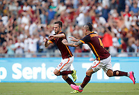 Calcio, Serie A: Roma vs Juventus. Roma, stadio Olimpico, 30 agosto 2015.<br /> Roma's Miralem Pjanic, left, celebrates with teammate Radja Nainggolan after scoring during the Italian Serie A football match between Roma and Juventus at Rome's Olympic stadium, 30 August 2015.<br /> UPDATE IMAGES PRESS/Riccardo De Luca
