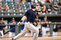 Catcher Ryan Lidge (21) of the Charleston RiverDogs bats in a game against the Columbia Fireflies on Monday, August 7, 2017, at Spirit Communications Park in Columbia, South Carolina. Columbia won, 6-4. (Tom Priddy/Four Seam Images)