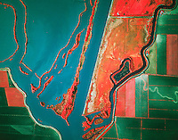 color infrared aerial photograph Sacramento deep water ship channel levees, delta California