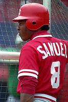 Cincinnati Reds Juan Samuel (9) during Spring Training 1993 at Chain of Lakes Park in Winter Haven, Florida.  (MJA/Four Seam Images)