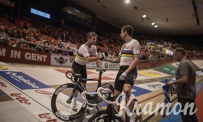 Madison World Champions Sir Bradley Wiggins (GBR/Wiggins) & Mark Cavendish (GBR/Dimension Data) just won the elimination race<br /> <br /> 2016 Gent 6<br /> day 4