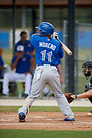 Toronto Blue Jays designated hitter Gabriel Moreno (11) at bat during a Florida Instructional League game against the Pittsburgh Pirates on September 20, 2018 at the Englebert Complex in Dunedin, Florida.  (Mike Janes/Four Seam Images)