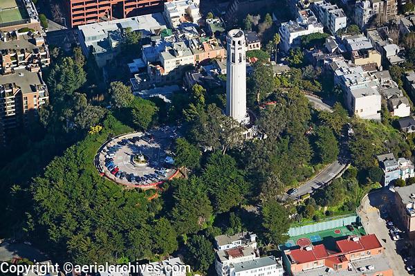 aerial photograph of Coit Tower, Telegraph Hill, San Francisco, California