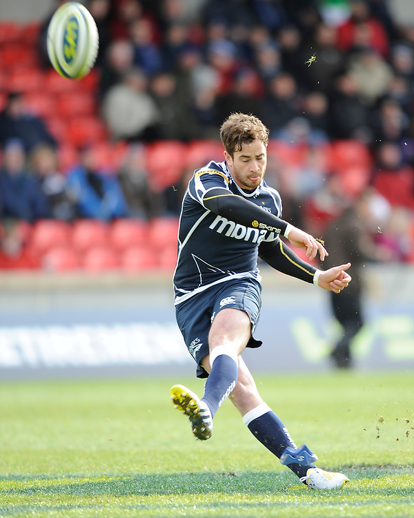20130310 Copyright onEdition 2013©.Free for editorial use image, please credit: onEdition..Danny Cipriani of Sale Sharks takes a penalty kick during the LV= Cup semi final match between Sale Sharks and Saracens at the Salford City Stadium on Sunday 10th March 2013 (Photo by Rob Munro)..For press contacts contact: Sam Feasey at brandRapport on M: +44 (0)7717 757114 E: SFeasey@brand-rapport.com..If you require a higher resolution image or you have any other onEdition photographic enquiries, please contact onEdition on 0845 900 2 900 or email info@onEdition.com.This image is copyright onEdition 2013©..This image has been supplied by onEdition and must be credited onEdition. The author is asserting his full Moral rights in relation to the publication of this image. Rights for onward transmission of any image or file is not granted or implied. Changing or deleting Copyright information is illegal as specified in the Copyright, Design and Patents Act 1988. If you are in any way unsure of your right to publish this image please contact onEdition on 0845 900 2 900 or email info@onEdition.com