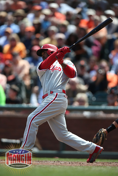 SAN FRANCISCO, CA - MAY 8:  Jimmy Rollins #11 of the Philadelphia Phillies bats against the San Francisco Giants during the game at AT&T Park on Wednesday, May 8, 2013 in San Francisco, California. Photo by Brad Mangin
