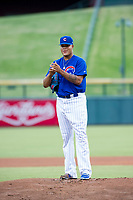 AZL Cubs starting pitcher Yunior Perez (72) gets ready to deliver a pitch during a game against the AZL Brewers on August 1, 2017 at Sloan Park in Mesa, Arizona. Brewers defeated the Cubs 5-4. (Zachary Lucy/Four Seam Images)