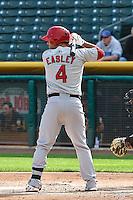 Ed Easley (4) of the Memphis Redbirds at bat against the Salt Lake Bees at Smith's Ballpark on June 18, 2014 in Salt Lake City, Utah.  (Stephen Smith/Four Seam Images)