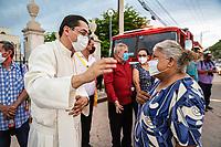 Aspects, during an atypical celebration and celebration of Our Lady of Carmen in the chapel of the Virgin of Carmen due to the covid19 pandemic on July 16 in Hermosillo Mexico.<br /> (Photo: Luis Gutierrez / NortePhoto.com)<br /> <br /> Aspectos, durante una celebración atipica y festejo a  Nuestra Señora del Carmen en la capilla de la virgen del Carmen por la pandemia de covid19 el 16 julio en Hermosillo Mexico.<br /> (Photo: Luis Gutierrez / NortePhoto.com) .<br /> agua bendita