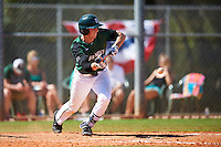Dartmouth Big Green shortstop Nate Ostmo (19) lays down a bunt during a game against the Eastern Michigan Eagles on February 25, 2017 at North Charlotte Regional Park in Port Charlotte, Florida.  Dartmouth defeated Eastern Michigan 8-4.  (Mike Janes/Four Seam Images)