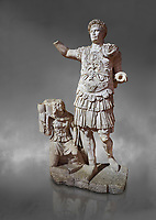 Roman statue of Emperor Trajan. Marble. Perge. 2nd century AD. Inv no11.13.79 . Antalya Archaeology Museum; Turkey. Against a grey background