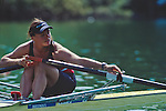 """Olympic and US National Rowing team rower Jennifer Devine rowing a single scull racing shell, checking her """"gate"""", making sure her oar is securely in it's oarlock, Lucerne, Switzerland, FISA World Rowing Championships, Lucerne Rotsee,  2001, released,."""