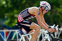 29 JUN 2014 - CHICAGO, USA - Lukas Verzbicas (USA) of the USA on the bike during the elite men's ITU 2014 World Triathlon Series round in Grant Park, Chicago in the USA (PHOTO COPYRIGHT © 2014 NIGEL FARROW, ALL RIGHTS RESERVED)