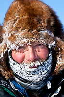 Portrait of Sonny Lindner frosted up after arriving at the Cripple checkpoint 1/2 way into the race during the 2010 Iditarod