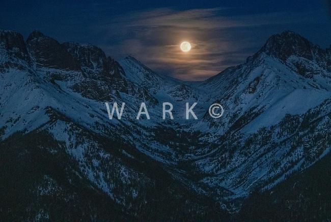 Full moon over Sangre de Cristo mountains