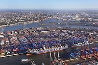 CMA CGM Containerschiff: EUROPA, DEUTSCHLAND, HAMBURG, (EUROPE, GERMANY), 14.01.2012 Der HHLA Container Terminal Burchardkai ist die groesste und aelteste Anlage für den Containerumschlag im Hamburger Hafen. Hier, wo 1968 die ersten Stahlboxen abgefertigt wurden, wird heute etwa jeder dritte Container des Hamburger Hafens umgeschlagen. 25 Containerbruecken arbeiten an den Tausenden Schiffen, die hier jaehrlich festmachen, und taeglich werden mehrere Hundert Eisenbahnwaggons be- und entladen. Mit dem laufenden Aus- und Modernisierungsprogramm wird die Kapazität des Terminals in den kommenden Jahren schrittweise ausgebaut.