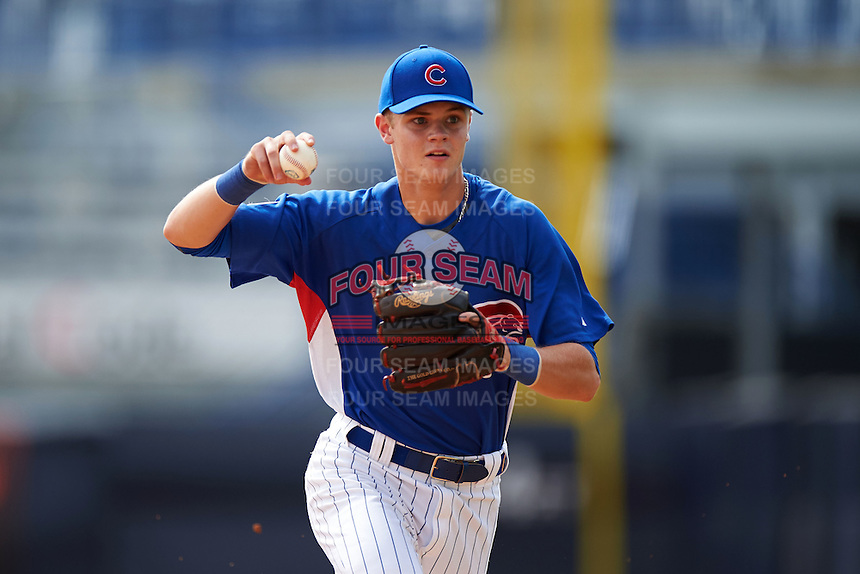 Logan Goodnight (52) of Linsly High School in Wheeling, West Virginia playing for the Chicago Cubs scout team during the East Coast Pro Showcase on July 28, 2015 at George M. Steinbrenner Field in Tampa, Florida.  (Mike Janes/Four Seam Images)