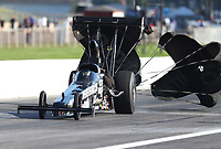 Aug 8, 2020; Clermont, Indiana, USA; NHRA top alcohol dragster driver Mike Bucher during qualifying for the Indy Nationals at Lucas Oil Raceway. Mandatory Credit: Mark J. Rebilas-USA TODAY Sports