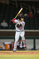 Salt River Rafters catcher Tres Barrera (12), of the Washington Nationals organization, at bat during an Arizona Fall League game against the Mesa Solar Sox at Sloan Park on October 16, 2018 in Mesa, Arizona. Salt River defeated Mesa 2-1. (Zachary Lucy/Four Seam Images)