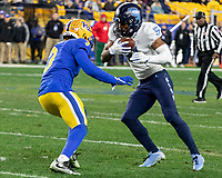 North Carolina wide receiver Dazz Newsome tries to avoid Pitt defensive back Damar Hamlin (3). The Pitt Panthers defeated the North Carolina Tarheels 34-27 in overtime in the football game on November 14, 2019 at Heinz Field, Pittsburgh, Pennsylvania.