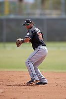Miami Marlins second baseman Angel Reyes (36) throws to first base during a minor league Spring Training game against the New York Mets on March 26, 2017 at the Roger Dean Stadium Complex in Jupiter, Florida.  (Mike Janes/Four Seam Images)