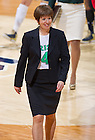 Jan. 26, 2013; Muffet McGraw smiles as she leaves the court after Notre Dame defeated the Providence Friars. McGraw wore a number 4 jersey in recognition of Skylar Diggins who passed the 2000 point mark during the game...Photo by Matt Cashore/University of Notre Dame