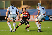 20130127 Copyright onEdition 2013©.Free for editorial use image, please credit: onEdition..Joe Maddock of Saracens looks to split Robin Copeland (left) and Michael Paterson of Cardiff Blues during the LV= Cup match between Saracens and Cardiff Blues at Allianz Park on Sunday 27th January 2013 (Photo by Rob Munro)..For press contacts contact: Sam Feasey at brandRapport on M: +44 (0)7717 757114 E: SFeasey@brand-rapport.com..If you require a higher resolution image or you have any other onEdition photographic enquiries, please contact onEdition on 0845 900 2 900 or email info@onEdition.com.This image is copyright onEdition 2013©..This image has been supplied by onEdition and must be credited onEdition. The author is asserting his full Moral rights in relation to the publication of this image. Rights for onward transmission of any image or file is not granted or implied. Changing or deleting Copyright information is illegal as specified in the Copyright, Design and Patents Act 1988. If you are in any way unsure of your right to publish this image please contact onEdition on 0845 900 2 900 or email info@onEdition.com