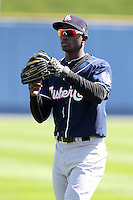 New Hampshire Fisher Cats shotstop Adeiny Hechavarria #2 warms up before a game against the Reading Phillies at FirstEnergy Stadium on May 5, 2011 in Reading, Pennsylvania.  New Hampshire defeated Reading by the score of 10-5.  Photo By Mike Janes/Four Seam Images