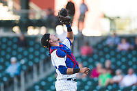 Mesa Solar Sox catcher P.J. Higgins (12), of the Chicago Cubs organization, prepares to catch a pop up in foul territory during an Arizona Fall League game against the Surprise Saguaros at Sloan Park on November 1, 2018 in Mesa, Arizona. Surprise defeated Mesa 5-4 . (Zachary Lucy/Four Seam Images)