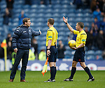 James Fowler has words with referee Crawford Allan at full-time