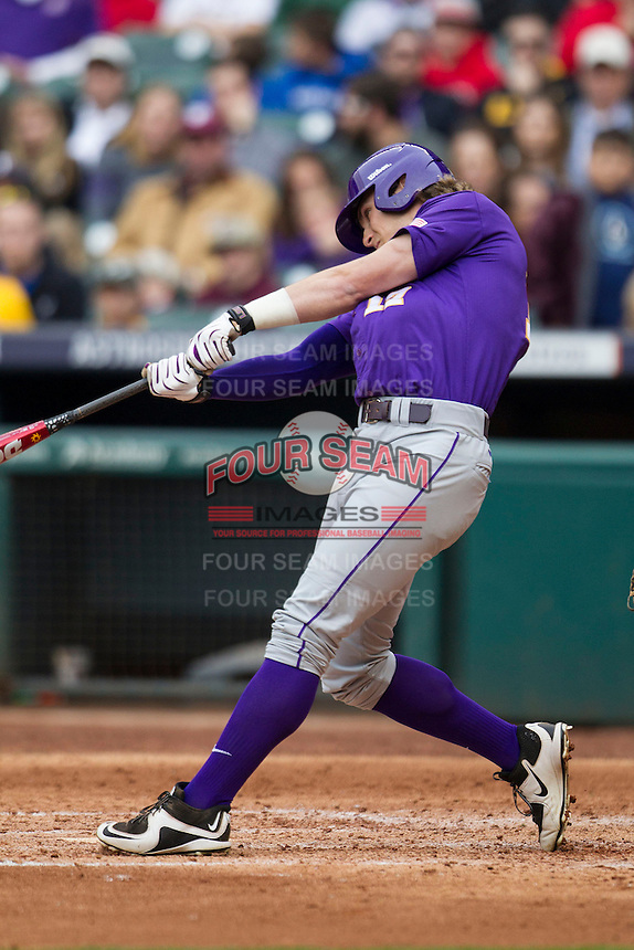 LSU Tigers outfielder Jared Foster (17) swings the bat during the NCAA baseball game against the Baylor Bears on March 7, 2015 in the Houston College Classic at Minute Maid Park in Houston, Texas. LSU defeated Baylor 2-0. (Andrew Woolley/Four Seam Images)