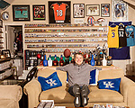 November 27, 2019. Cary, North Carolina.<br /> <br /> Jimmy Mahan, a former social worker and banker, has a massive collection of sports memorabilia. His collection spans his days as a kid growing up in Kentucky and loving UK basketball all the way through high collectible classic baseball cards, jerseys and sneakers.